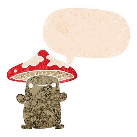 cartoon mushroom with speech bubble in grunge distressed retro textured style