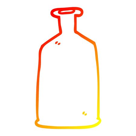 warm gradient line drawing of a cartoon green bottle Ilustração