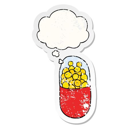 cartoon pill with thought bubble as a distressed worn sticker Ilustração