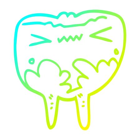 cold gradient line drawing of a cartoon bad tooth
