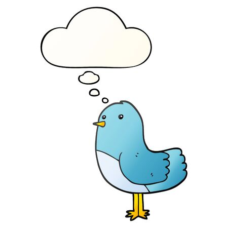 cartoon bird with thought bubble in smooth gradient style