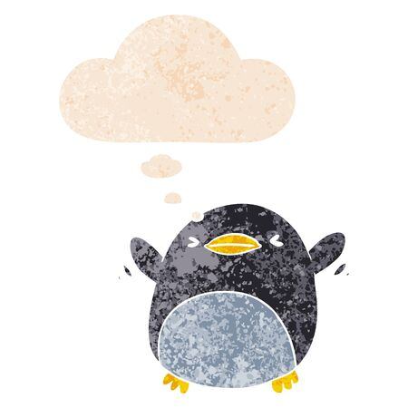 cute cartoon flapping penguin with thought bubble in grunge distressed retro textured style