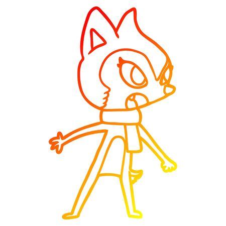 warm gradient line drawing of a cartoon chipmunk wearing scarf Illustration