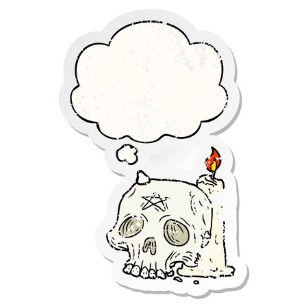 cartoon spooky skull and candle with thought bubble as a distressed worn sticker 向量圖像