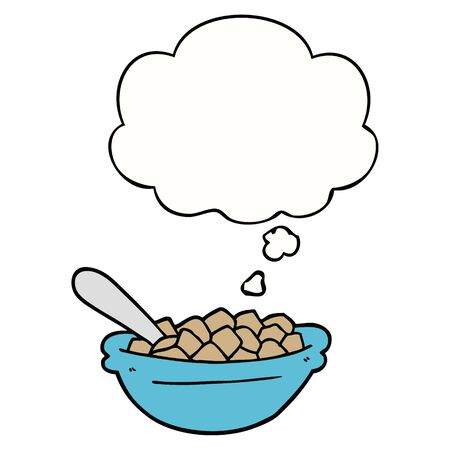 cartoon cereal bowl with thought bubble Banque d'images - 128272275