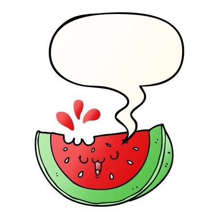 cartoon watermelon with speech bubble in smooth gradient style Ilustração