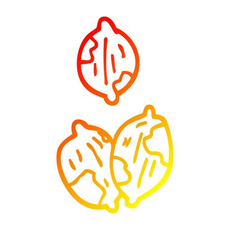warm gradient line drawing of a cartoon nuts in shells