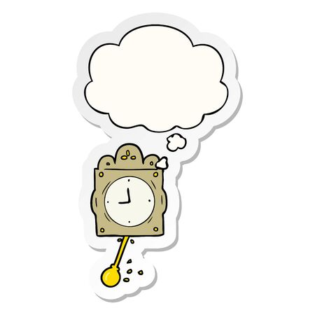 cartoon ticking clock with thought bubble as a printed sticker Illustration
