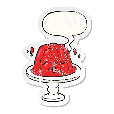 cartoon jelly on plate wobbling with speech bubble distressed distressed old sticker Banque d'images - 128272347