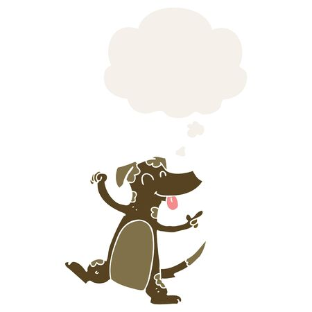 cartoon dancing dog with thought bubble in retro style