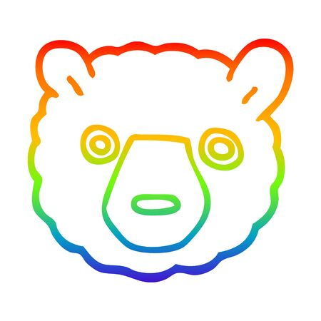 rainbow gradient line drawing of a cartoon polar bear face