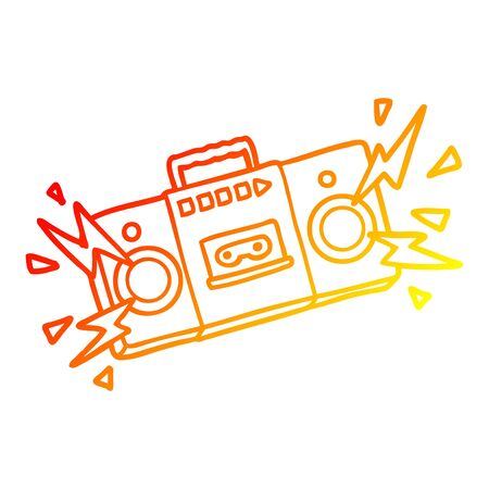 warm gradient line drawing of a retro cartoon tape cassette player blasting out old rock tunes