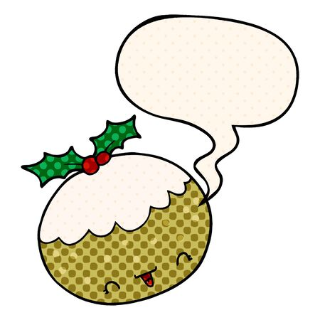 cute cartoon christmas pudding with speech bubble in comic book style 스톡 콘텐츠 - 128272413