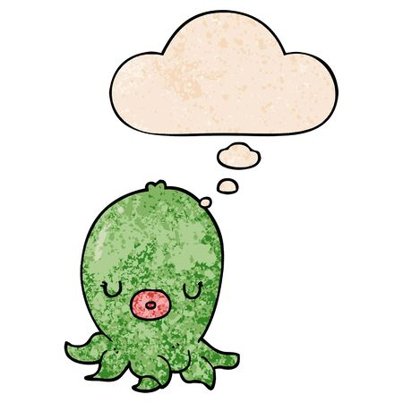 cartoon octopus with thought bubble in grunge texture style