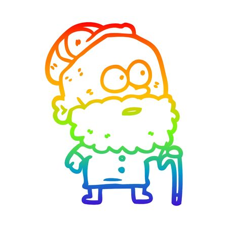 rainbow gradient line drawing of a old man with walking stick and flat cap