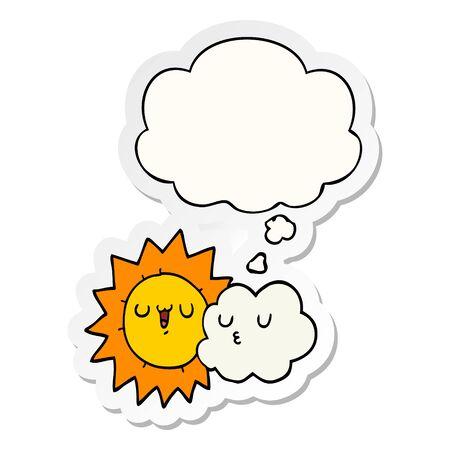 cartoon sun and cloud with thought bubble as a printed sticker Illusztráció