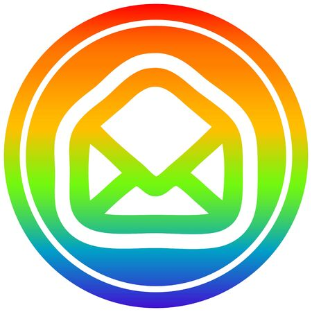 envelope letter circular icon with rainbow gradient finish Illustration