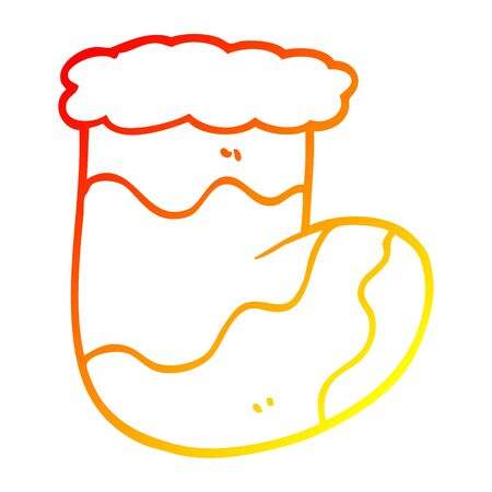 warm gradient line drawing of a cartoon christmas stockings