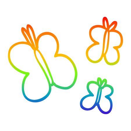 rainbow gradient line drawing of a cartoon butterflies