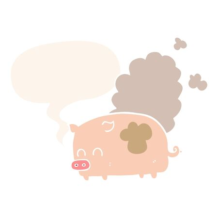 cartoon smelly pig with speech bubble in retro style