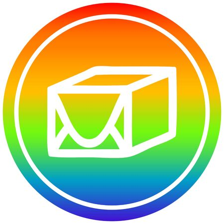 wrapped parcel circular icon with rainbow gradient finish