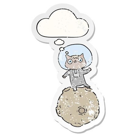 cute cartoon astronaut cat with thought bubble as a distressed worn sticker