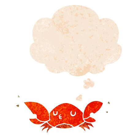 cartoon crab with thought bubble in grunge distressed retro textured style Ilustração