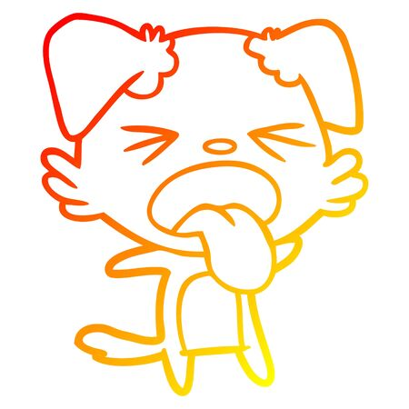 warm gradient line drawing of a cartoon disgusted dog Stock Vector - 128216461