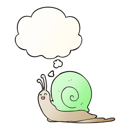 cartoon snail with thought bubble in smooth gradient style