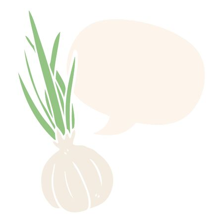 cartoon garlic bulb with speech bubble in retro style