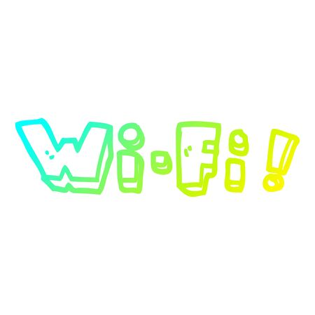 cold gradient line drawing of a cartoon wording wifi