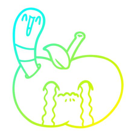 cold gradient line drawing of a cartoon worm eating an apple Иллюстрация
