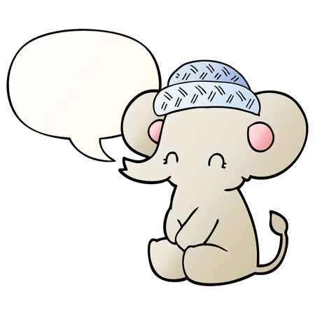 cartoon cute elephant with speech bubble in smooth gradient style