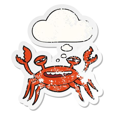 cartoon crab with thought bubble as a distressed worn sticker