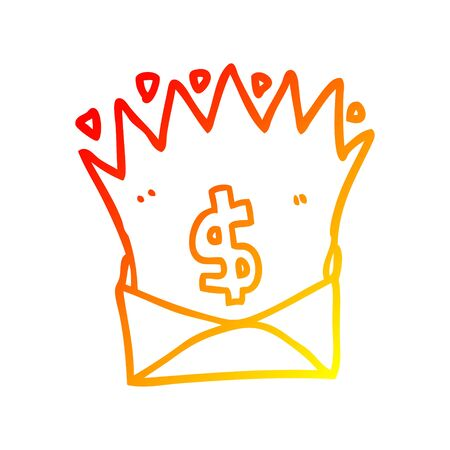 warm gradient line drawing of a cartoon envelope with money sign  イラスト・ベクター素材