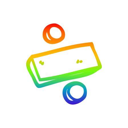 disegno a tratteggio sfumato arcobaleno di un simbolo di divisione dei cartoni animati