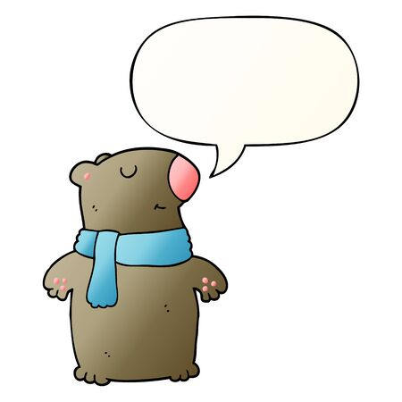 cartoon bear with speech bubble in smooth gradient style