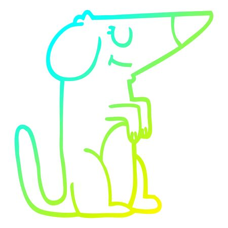 cold gradient line drawing of a cartoon dog Ilustração