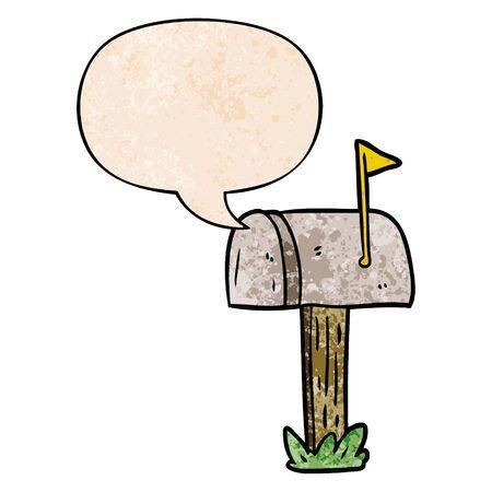 cartoon mailbox with speech bubble in retro texture style Stockfoto - 128273054