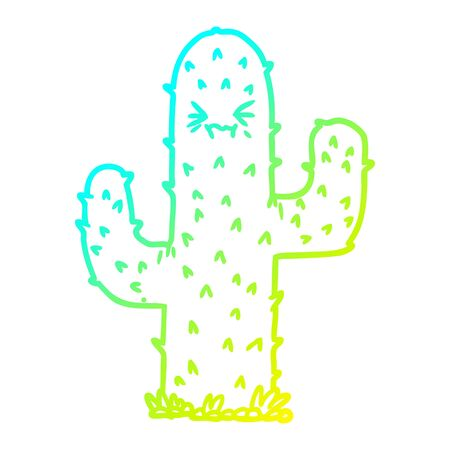 cold gradient line drawing of a cartoon cactus