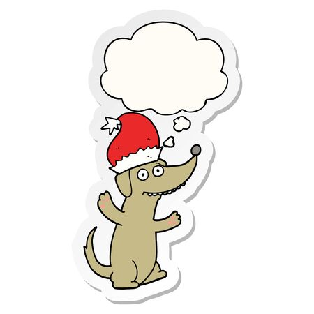cute christmas cartoon dog with thought bubble as a printed sticker