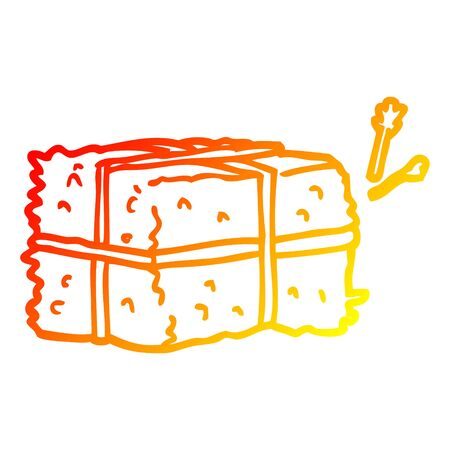 warm gradient line drawing of a cartoon bale of hay
