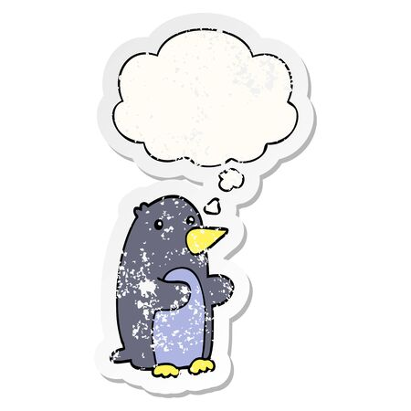 cartoon penguin with thought bubble as a distressed worn sticker