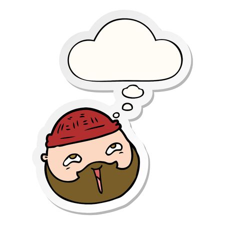 cartoon male face with beard with thought bubble as a printed sticker