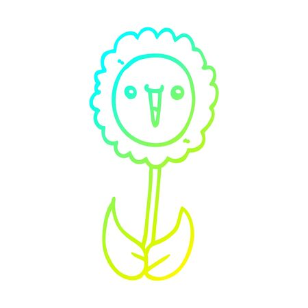 cold gradient line drawing of a cartoon flower Ilustração