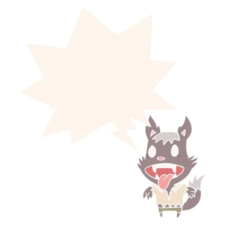 cartoon halloween werewolf with speech bubble in retro style