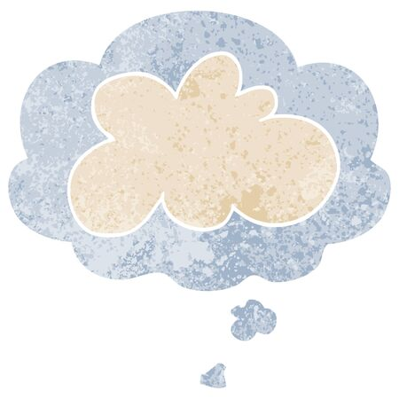 cartoon decorative cloud symbol with thought bubble in grunge distressed retro textured style