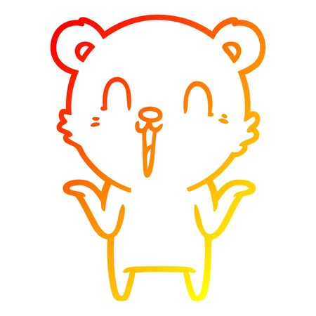 warm gradient line drawing of a happy cartoon polar bear with no worries