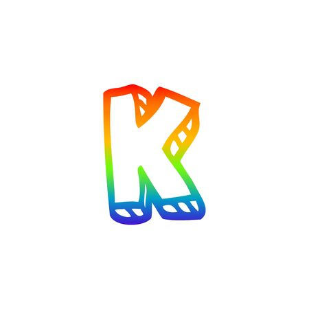 rainbow gradient line drawing of a cartoon letter k Illustration