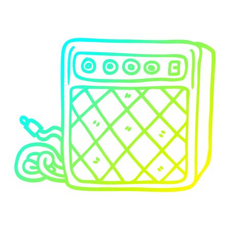 cold gradient line drawing of a cartoon retro speaker system